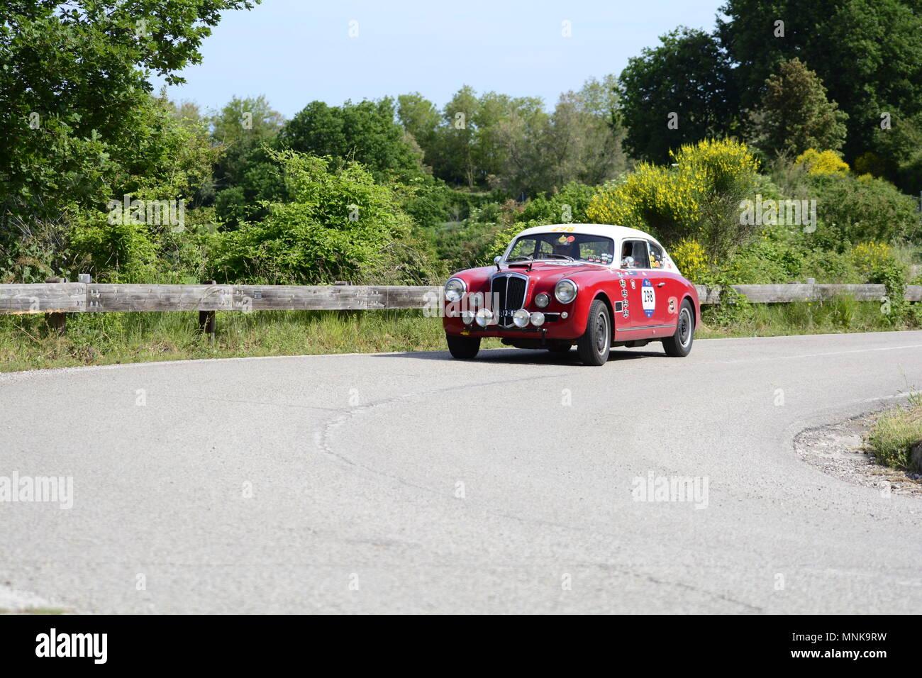 PESARO COLLE SAN BARTOLO , ITALY - MAY 17 - 2018 :  LANCIA AURELIA B20 GT1953  on an old racing car in rally Mille Miglia 2018 the famous italia - Stock Image