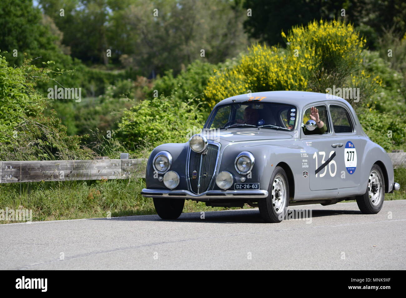 PESARO COLLE SAN BARTOLO , ITALY - MAY 17 - 2018 : LANCIA AURELIA B22	1953  on an old racing car in rally Mille Miglia 2018 the famous italia - Stock Image