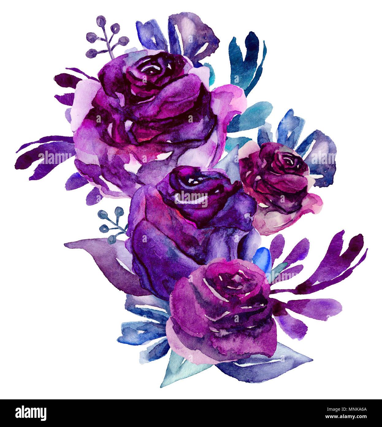 Watercolor Purple Flowers Clip Art Floral Bouquet Illustration