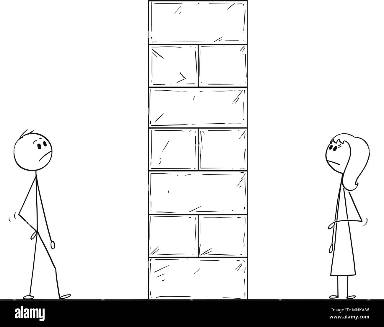 Cartoon of Man and Woman Divided by High Wall Obstacle - Stock Vector