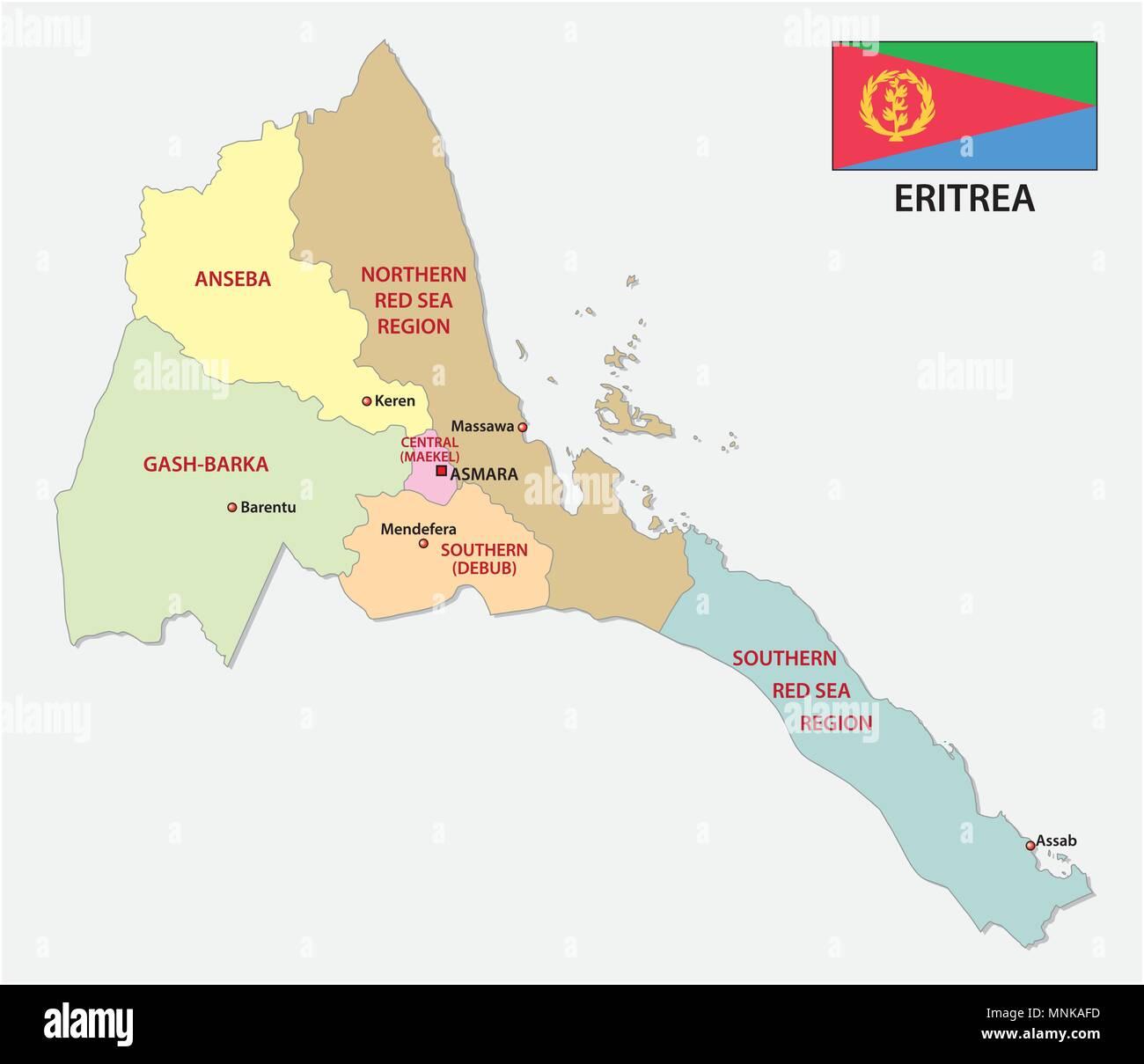 Cartina Eritrea.Eritrea Administrative And Political Vector Map With Flag Stock Vector Image Art Alamy