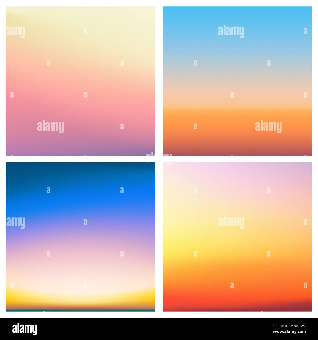 Abstract Vector Sunset Blurred Background Set Square Blurred