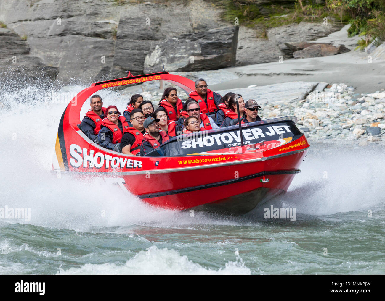 shotover jet boating on the shotover river close up  near queenstown new zealand New Zealand queenstown New Zealand South Island - Stock Image