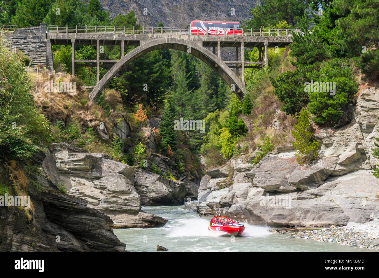 New Zealand queenstown New Zealand South Island shotover jet boating on the shotover river near queenstown new zealand - Stock Image