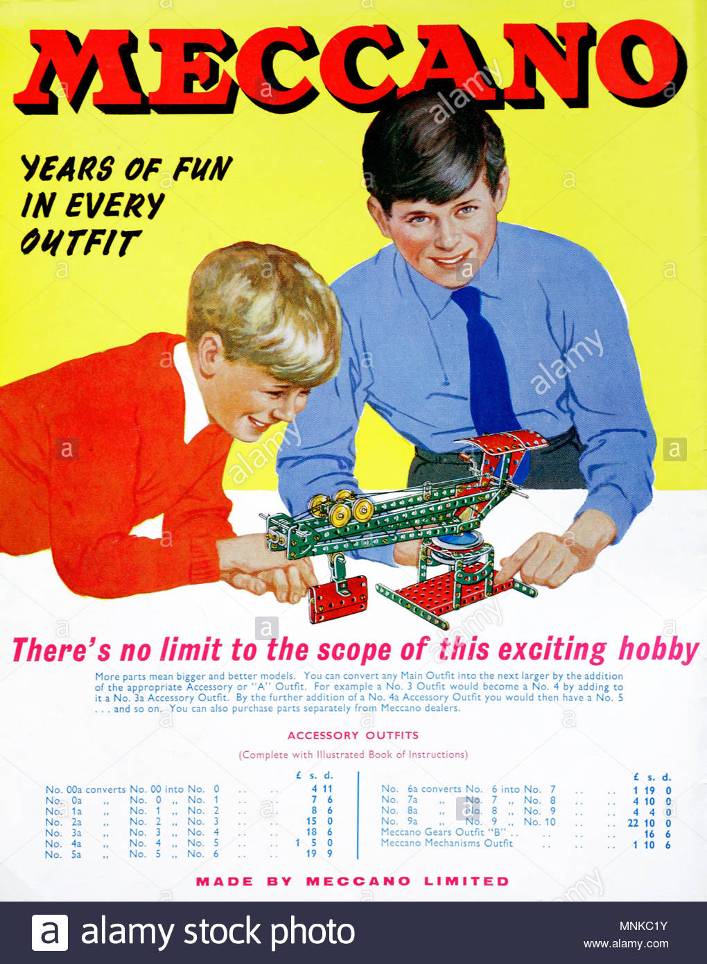 Meccano, vintage advertising from 1961 - Stock Image