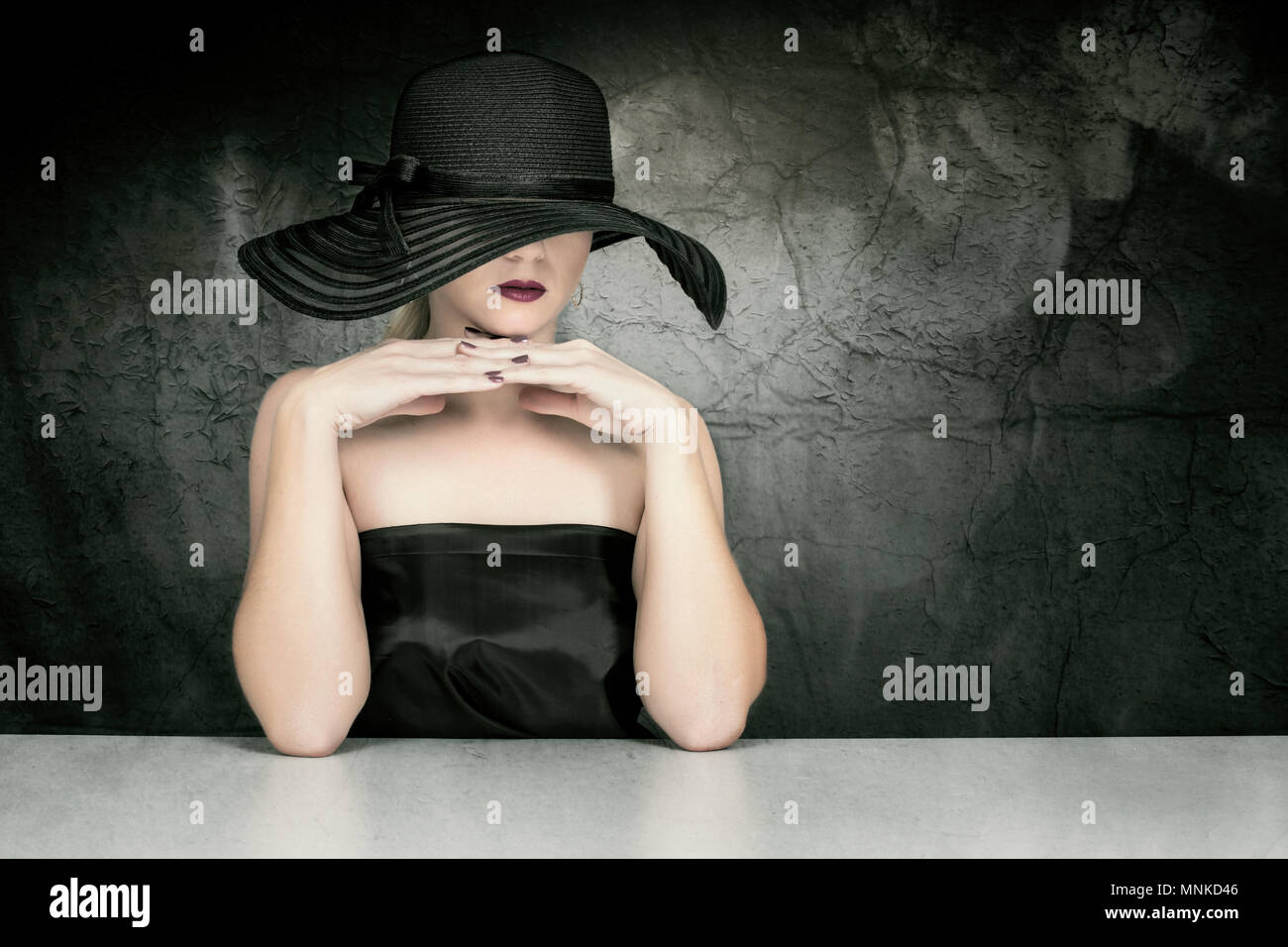 Woman with hat. - Stock Image
