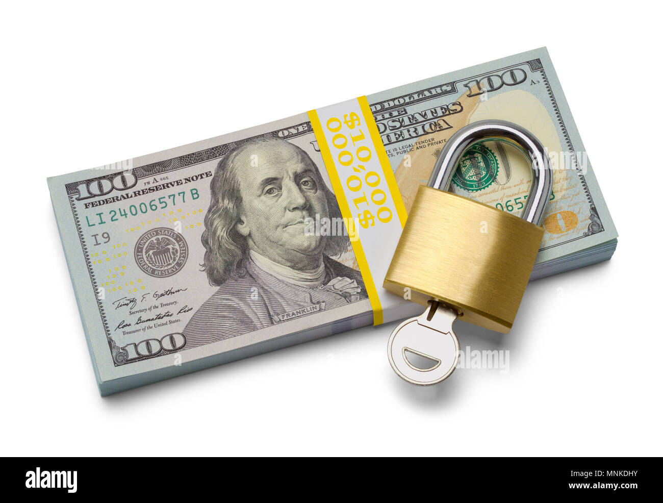 Stack of Hundred Dollar Bills with Padlock and Key Isolated on a White Background. - Stock Image