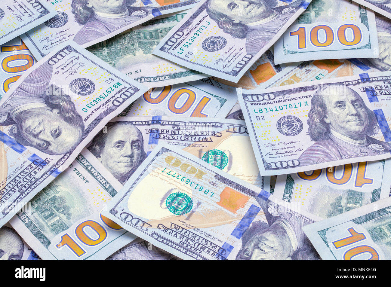 Large Pile of One Hundred Dollars Bills. - Stock Image