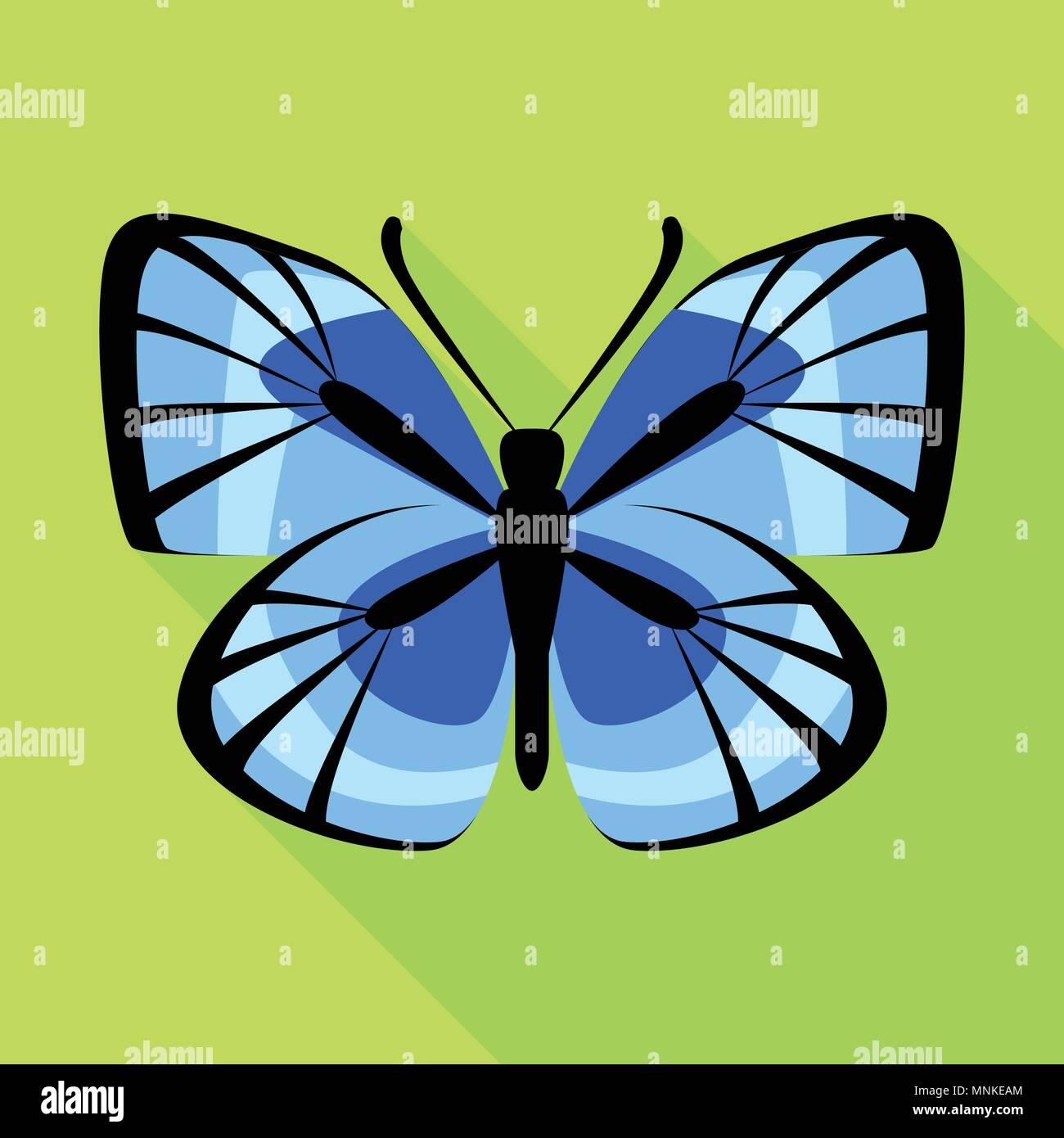 Blue butterfly icon, flat style - Stock Vector