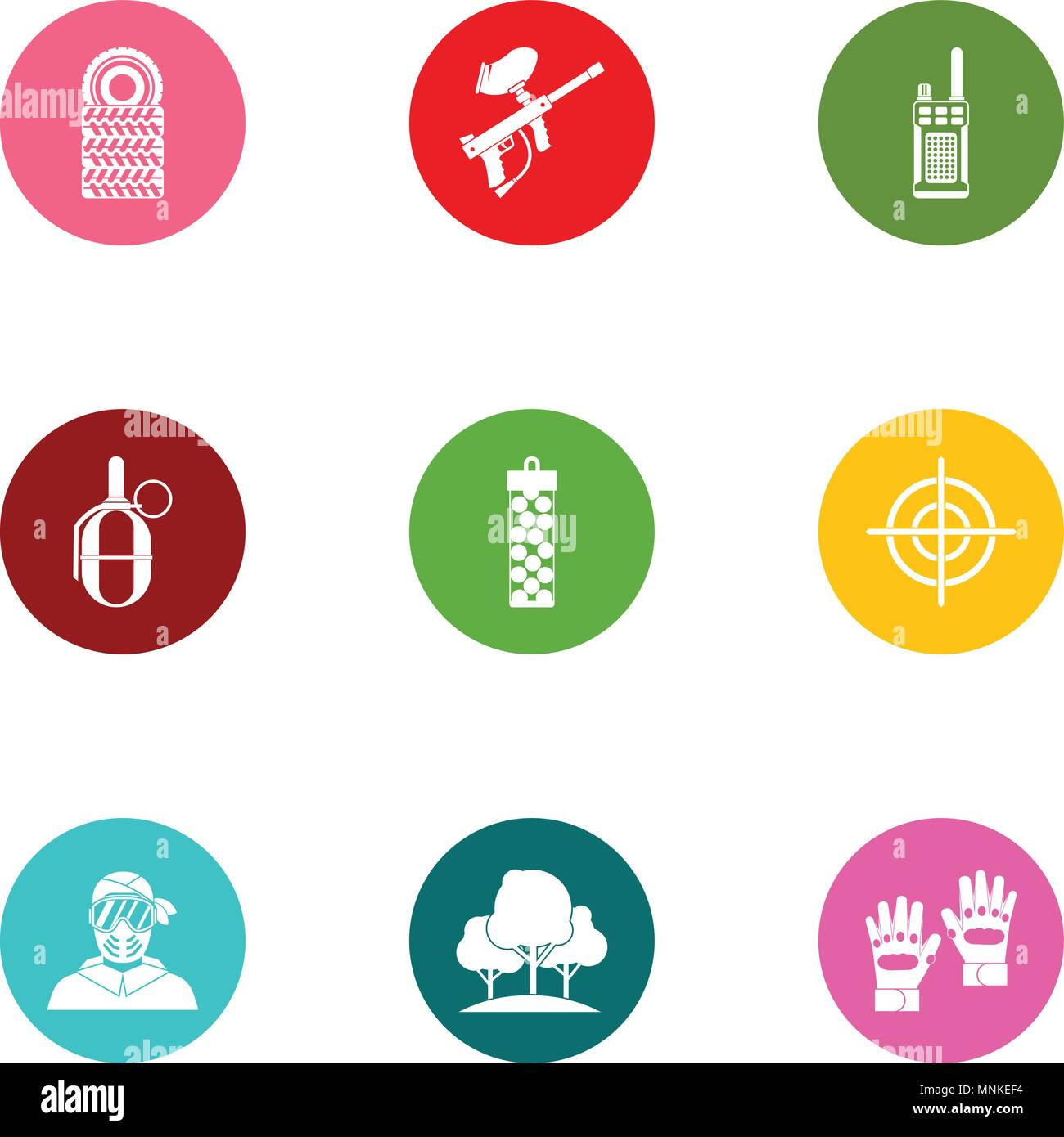 Military doctrine icons set, flat style - Stock Vector