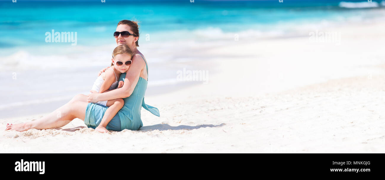de0f9ad5cba28 Mother and daughter enjoying beach vacation, Stitched Panorama Stock ...