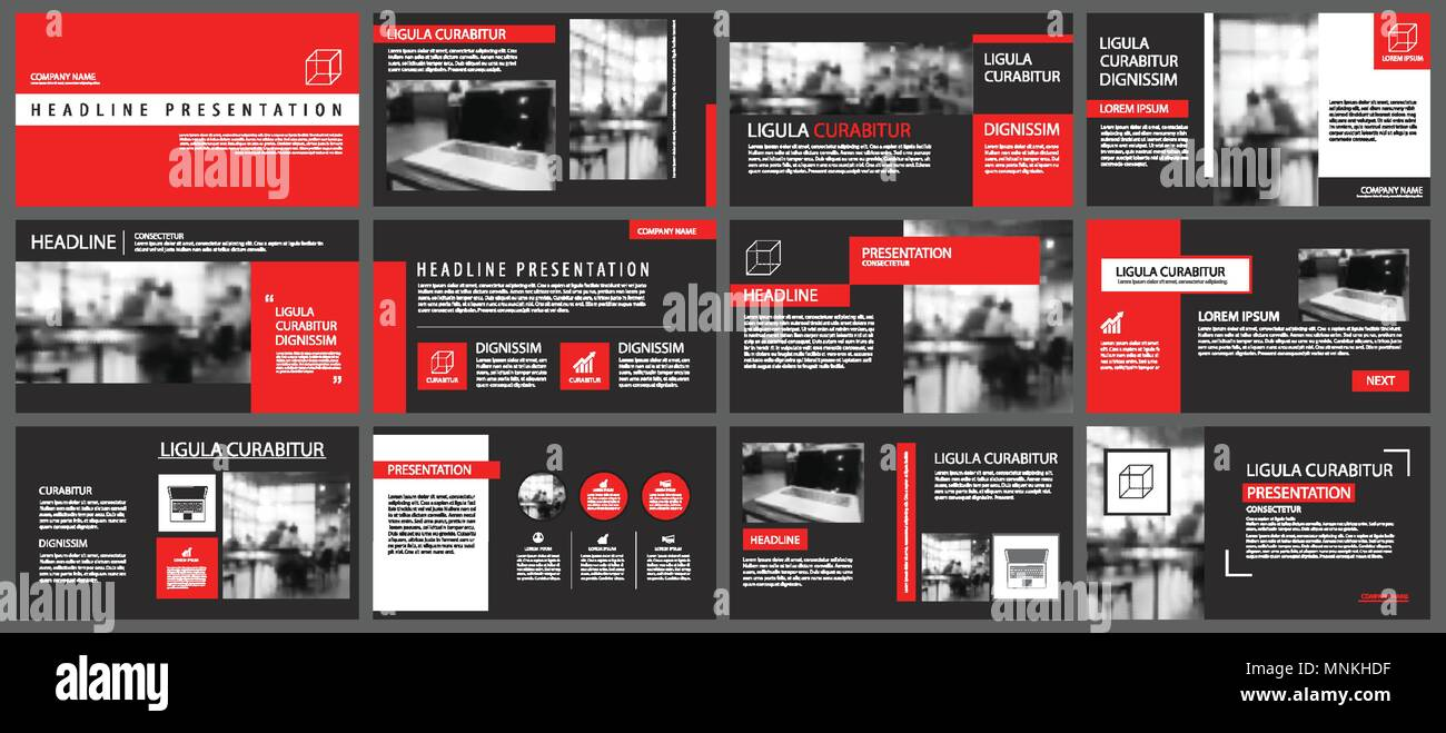 Red and black slide presentation templates background. Infographic business elements. Use for flyer, brochure, leaflet, corporate, marketing, advertis - Stock Image