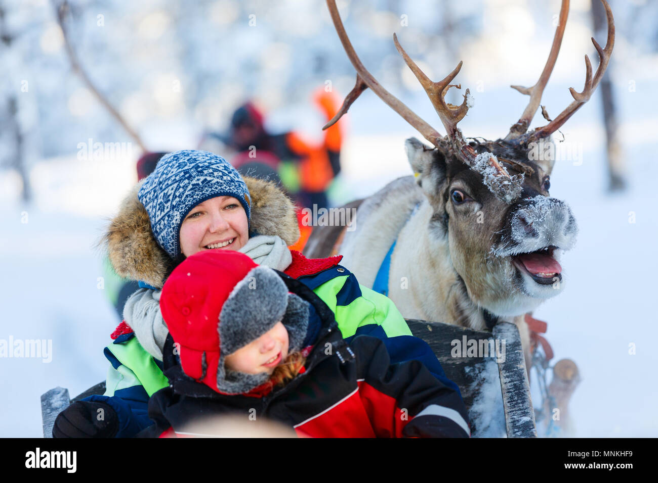 Family of mother and little girl at reindeer safari in winter forest in Lapland Finland - Stock Image