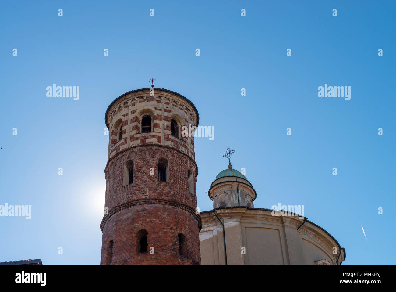 Red Tower in Asti, Italy - Stock Image