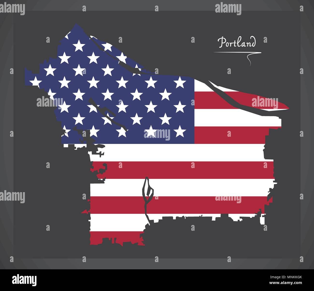 Portland Oregon map with American national flag illustration ...