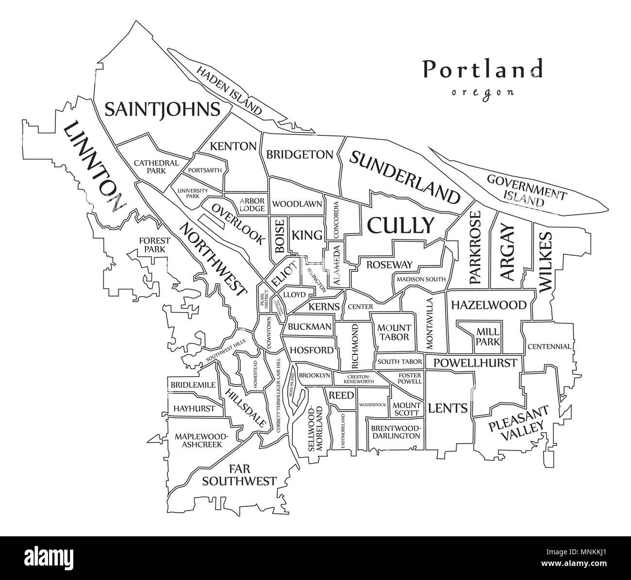 Portland Oregon Map Of Neighborhoods.Modern City Map Portland Oregon City Of The Usa With Neighborhoods