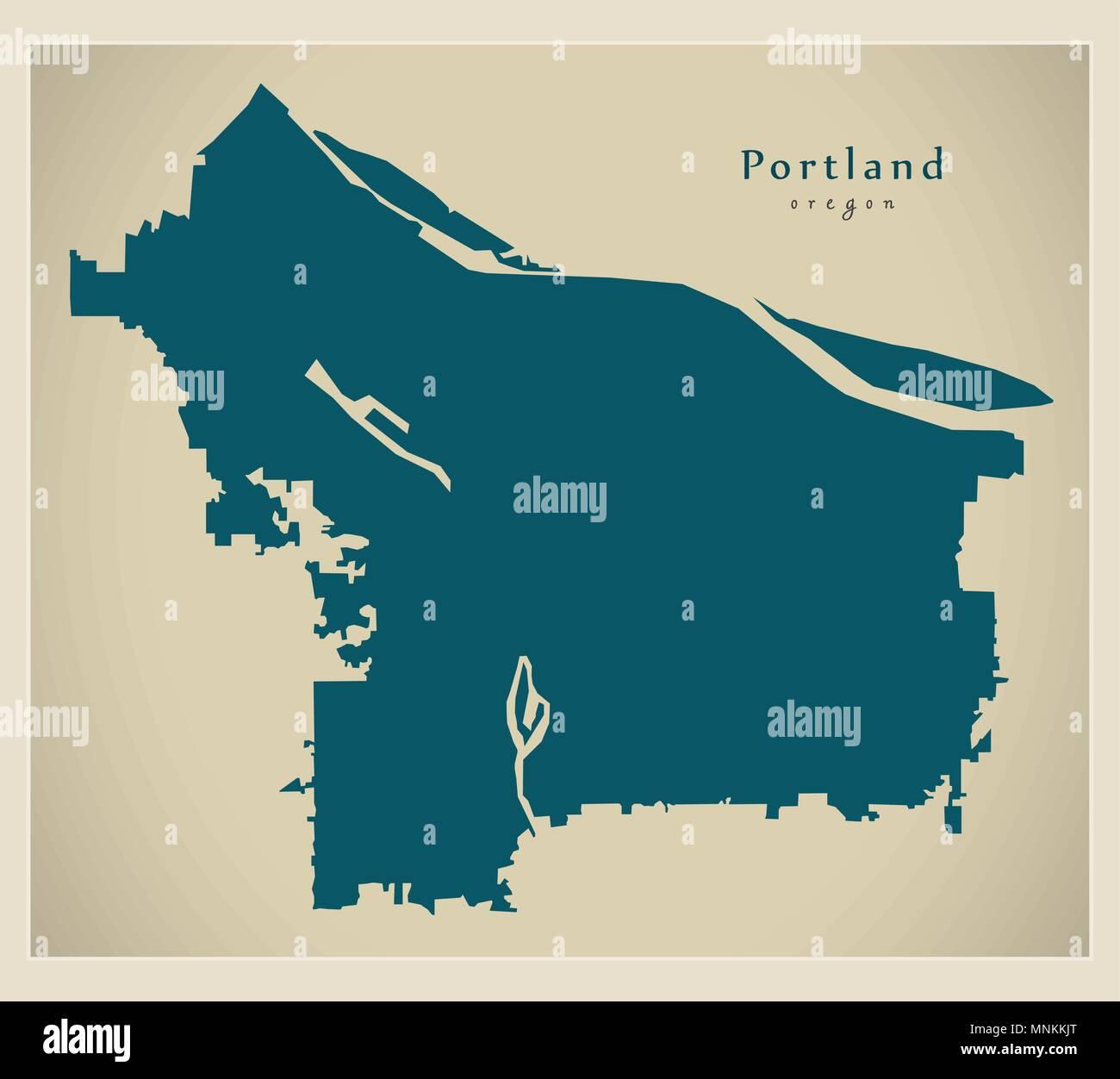 Modern City Map - Portland Oregon city of the USA Stock Vector Art ...
