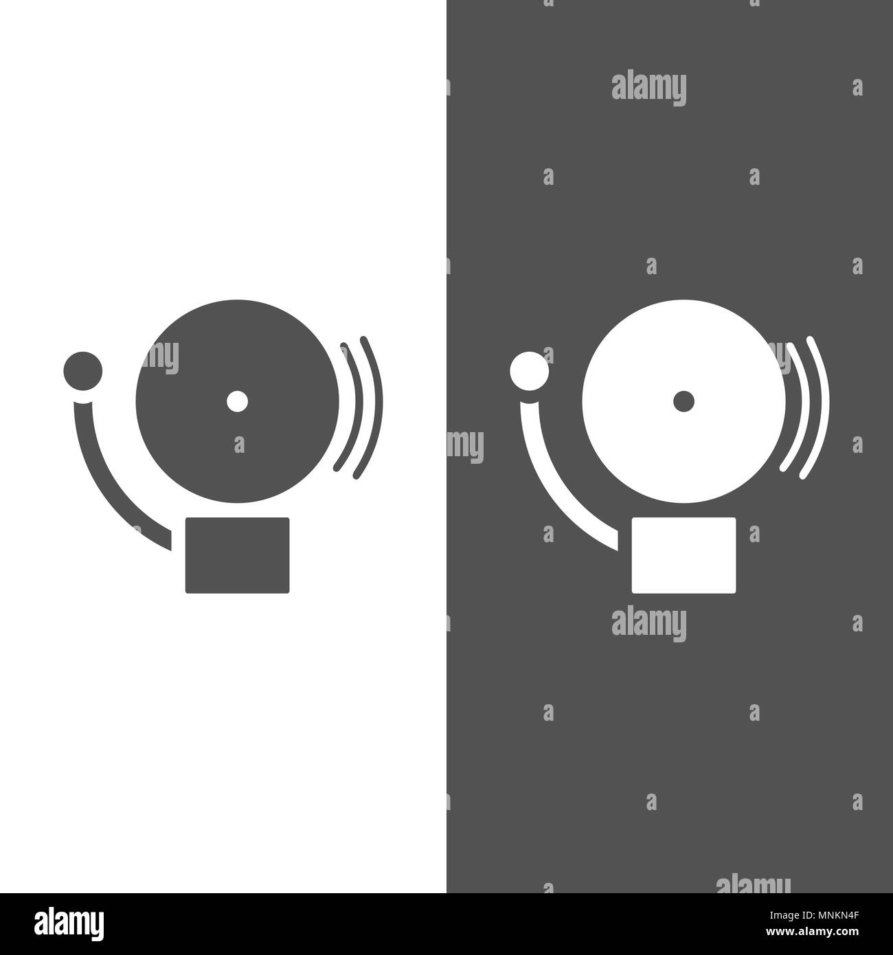 Alarm icon on a dark and white background. Vector illustration - Stock Image
