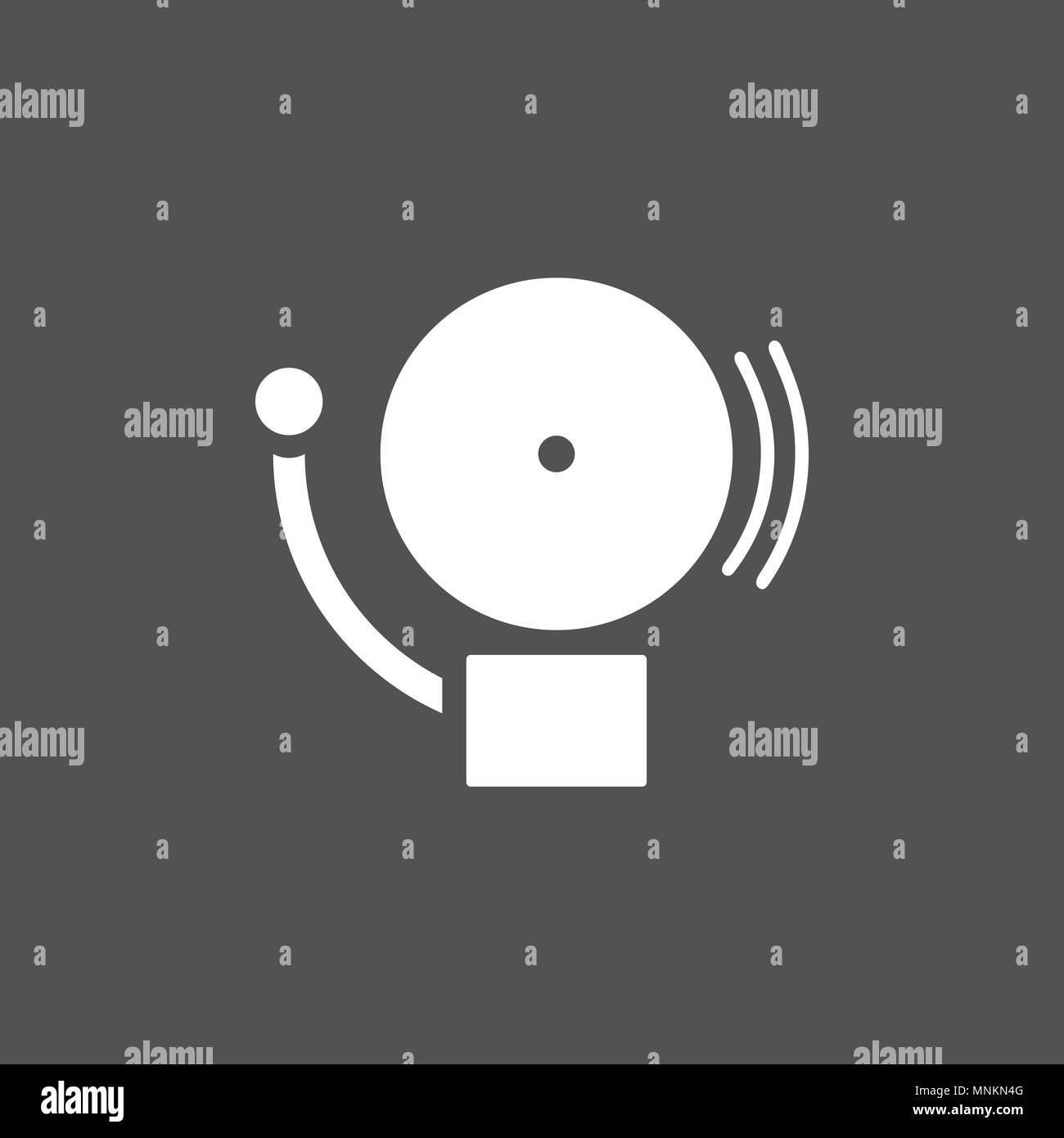 Alarm icon on a dark background. Vector illustration - Stock Image