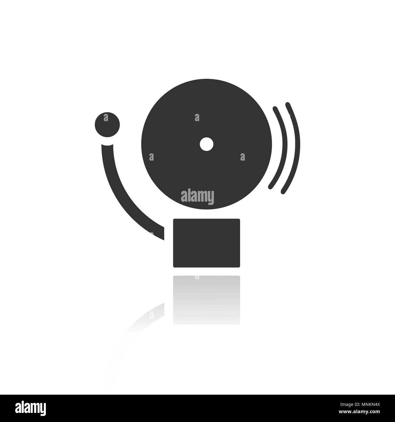 Alarm icon on a white background with reflection. Vector illustration - Stock Image
