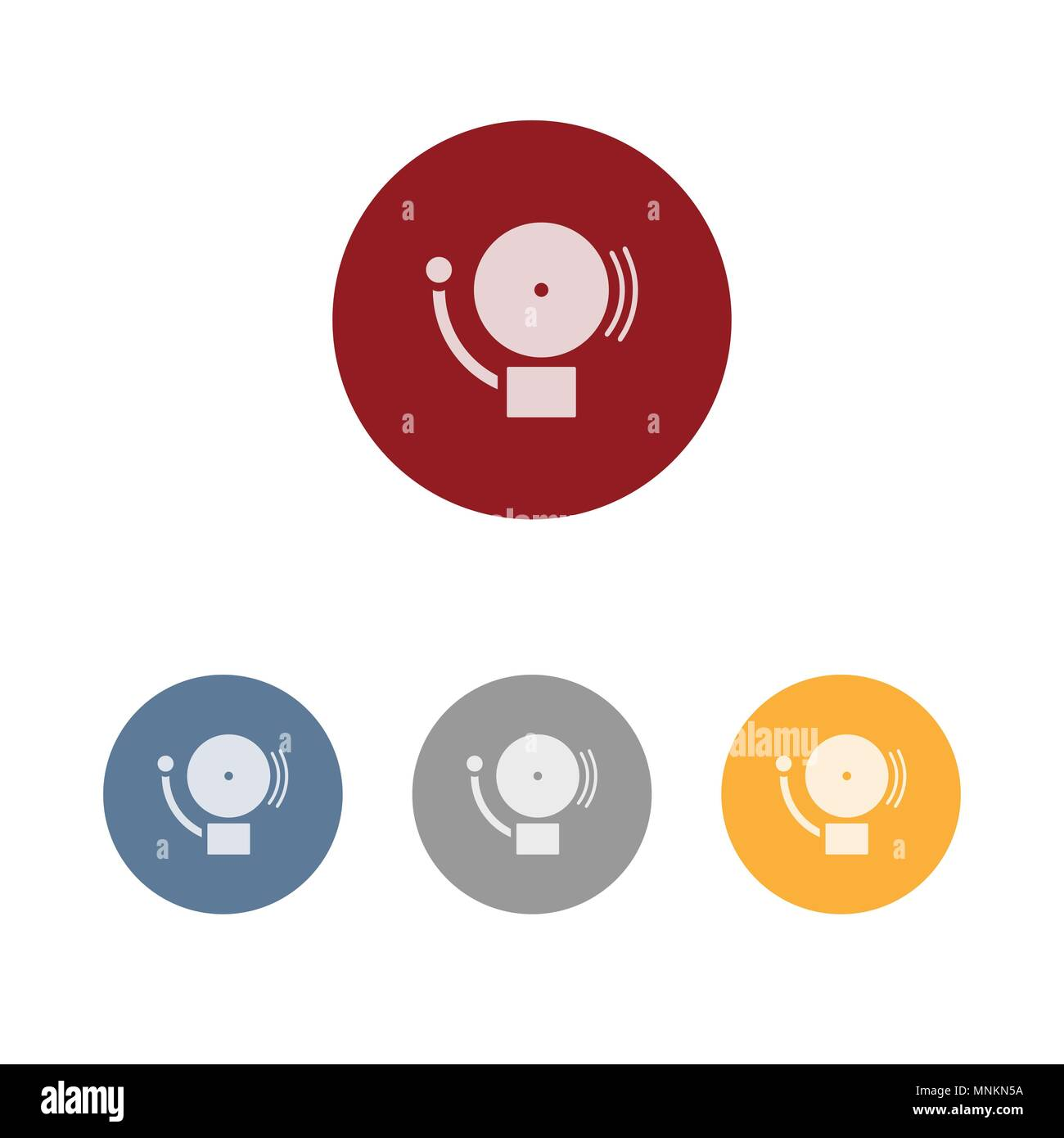 Alarm icon on colored circle - Stock Image