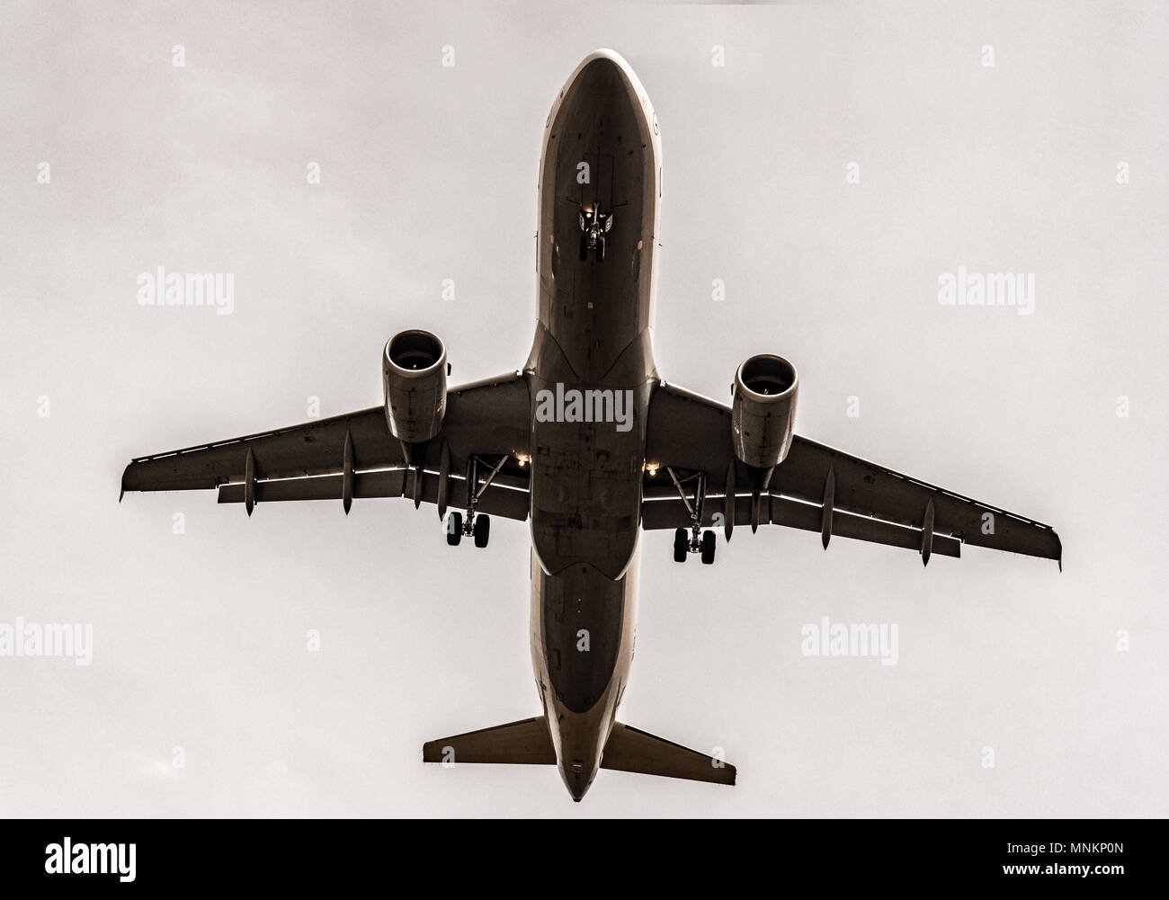 Airplane, Aircraft bottom, flying, take-off, landing - Stock Image