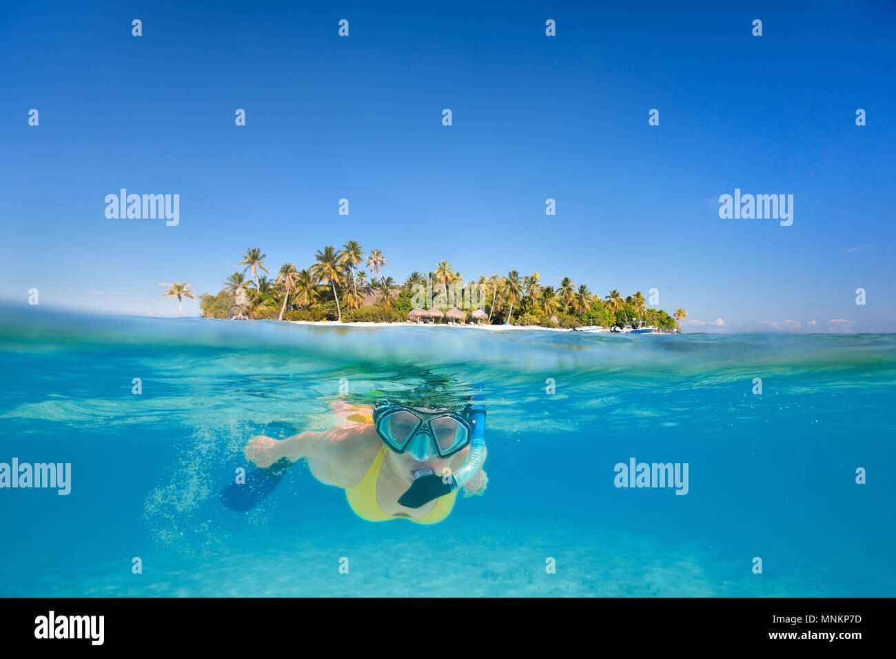 Woman snorkeling in clear tropical waters in front of exotic island - Stock Image