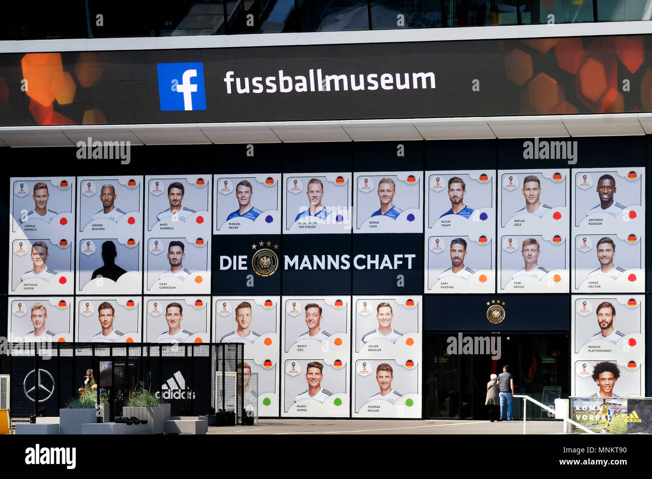 Portraits of players nominated by national coach Joachim Loew (Löw) of the provisional squad of the German national soccer team for the 2018 FIFA World Cup in Russia on the front of the German Football Museum in Dortmund, Germany on 18.5.2018 - Stock Image