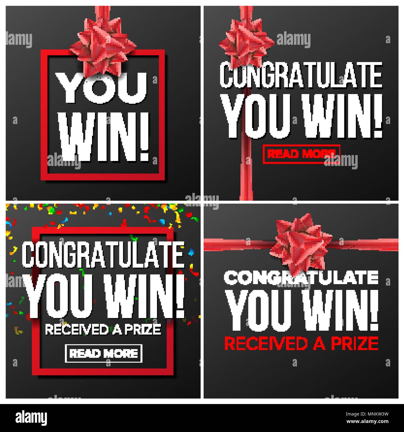 You Win Banner Set Vector. Festive Sign. Realistic Red