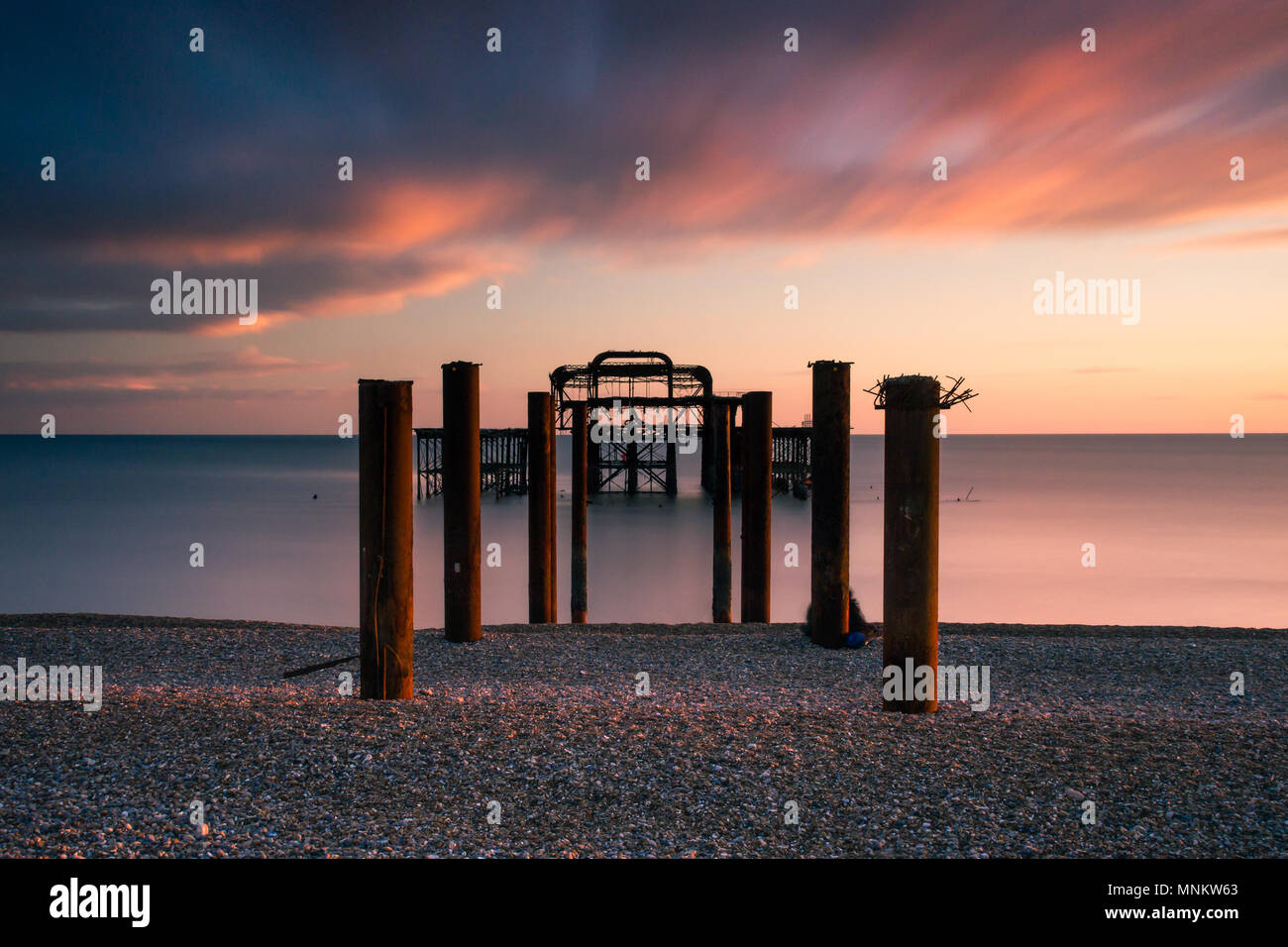 Evening warmth at the West Pier - Stock Image