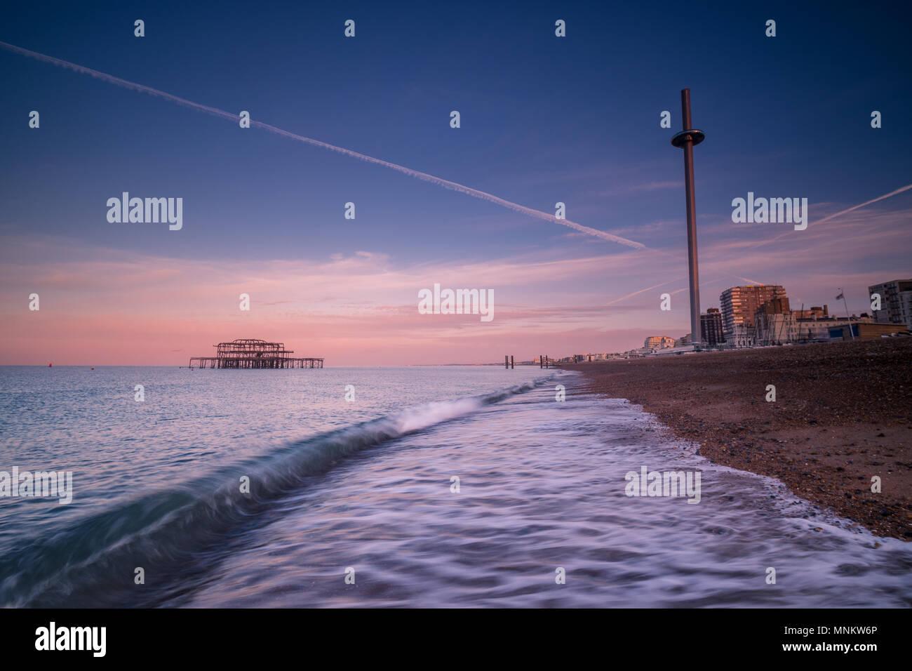 Breaking wave at Brighton - Stock Image