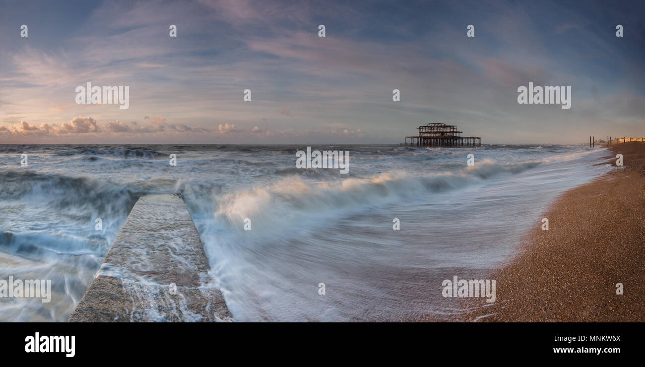 Brighton sunlit waves - Stock Image