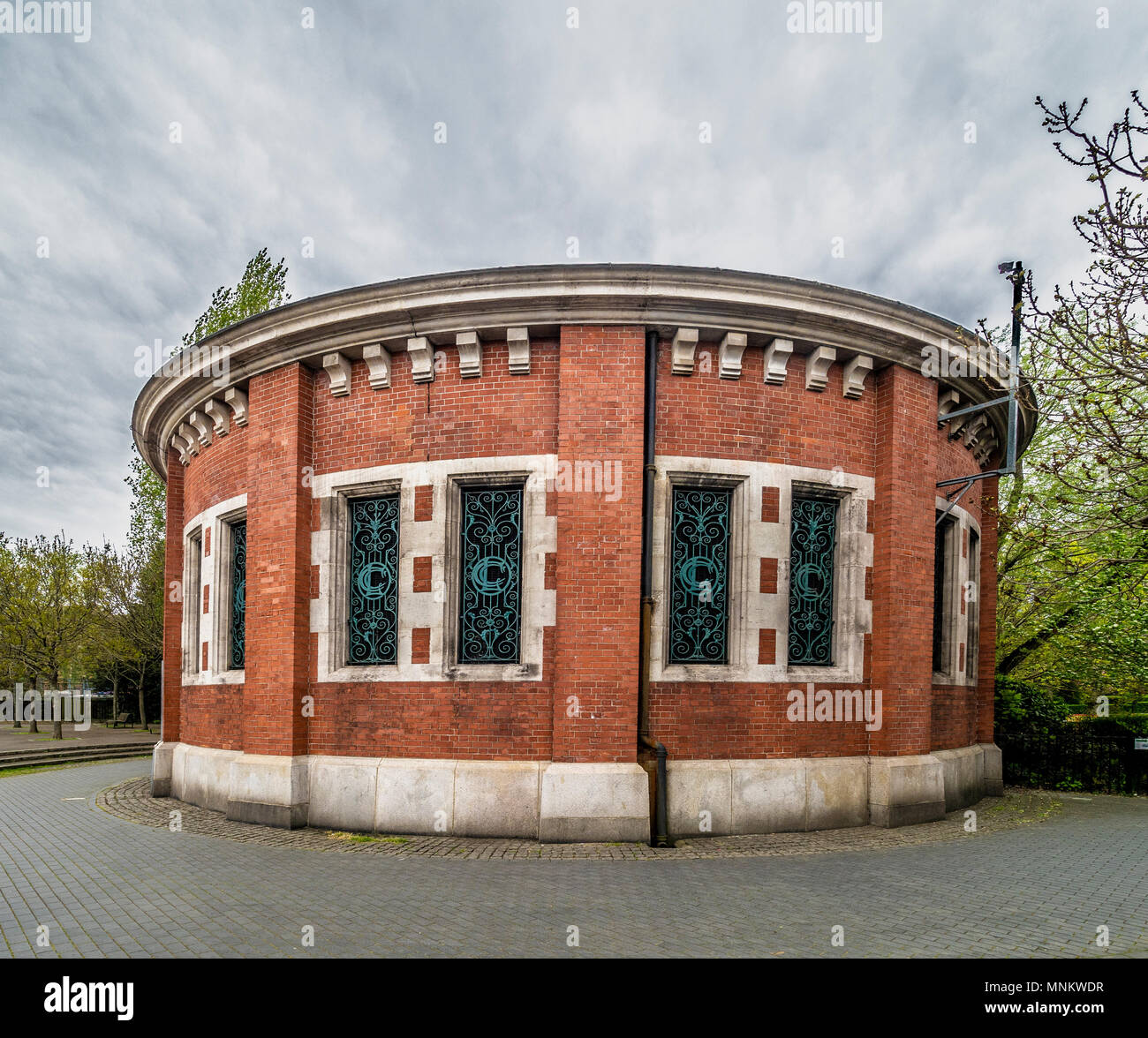 Air shaft to Rotherhithe Tunnel in King Edward VII Memorial Park on the North bank of the River Thames, London, UK. - Stock Image