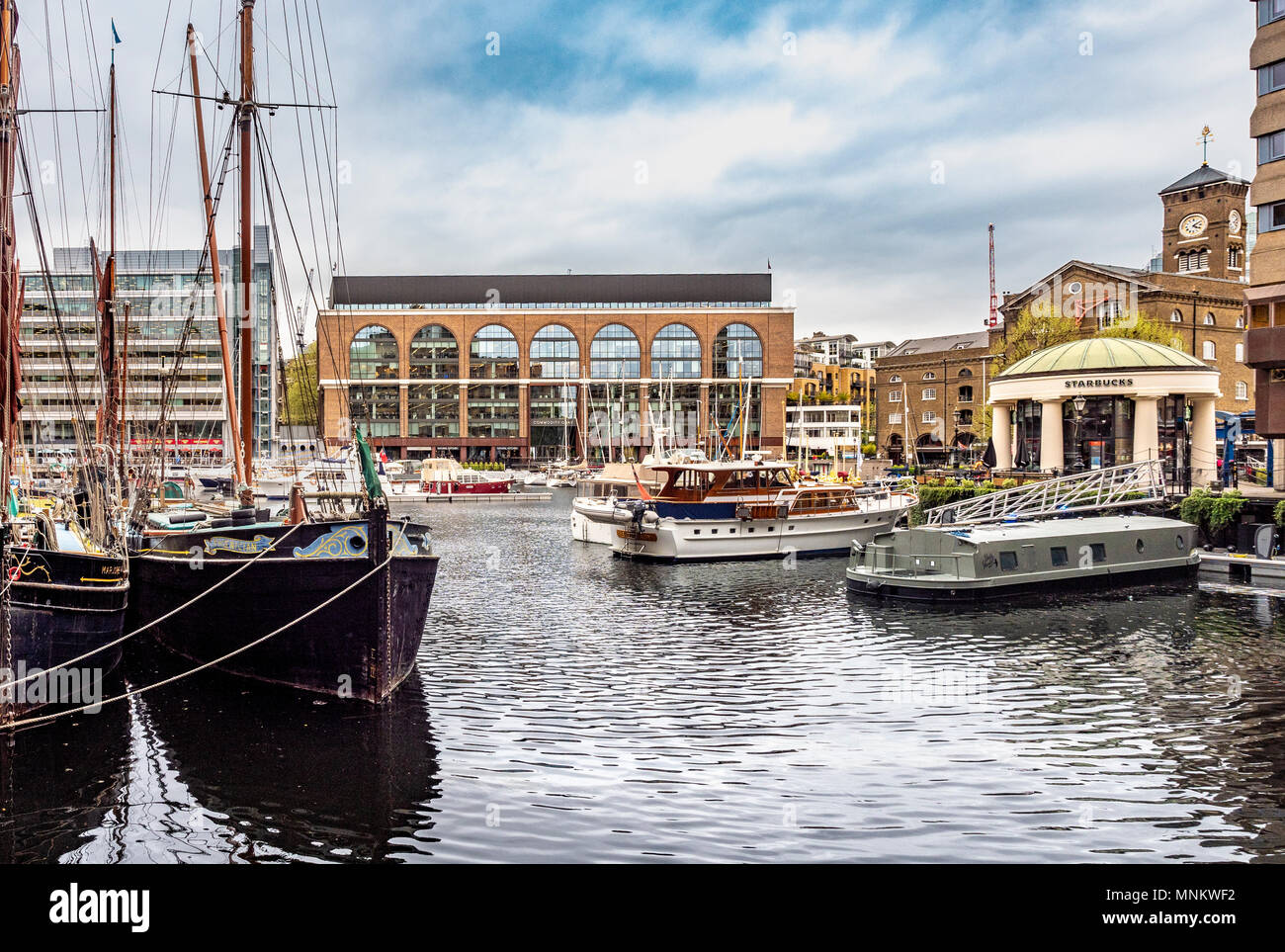 St Katharine Docks housing and leisure complex, Borough of Tower Hamlets, on the north side of the river Thames  They were part of the Port of London, - Stock Image