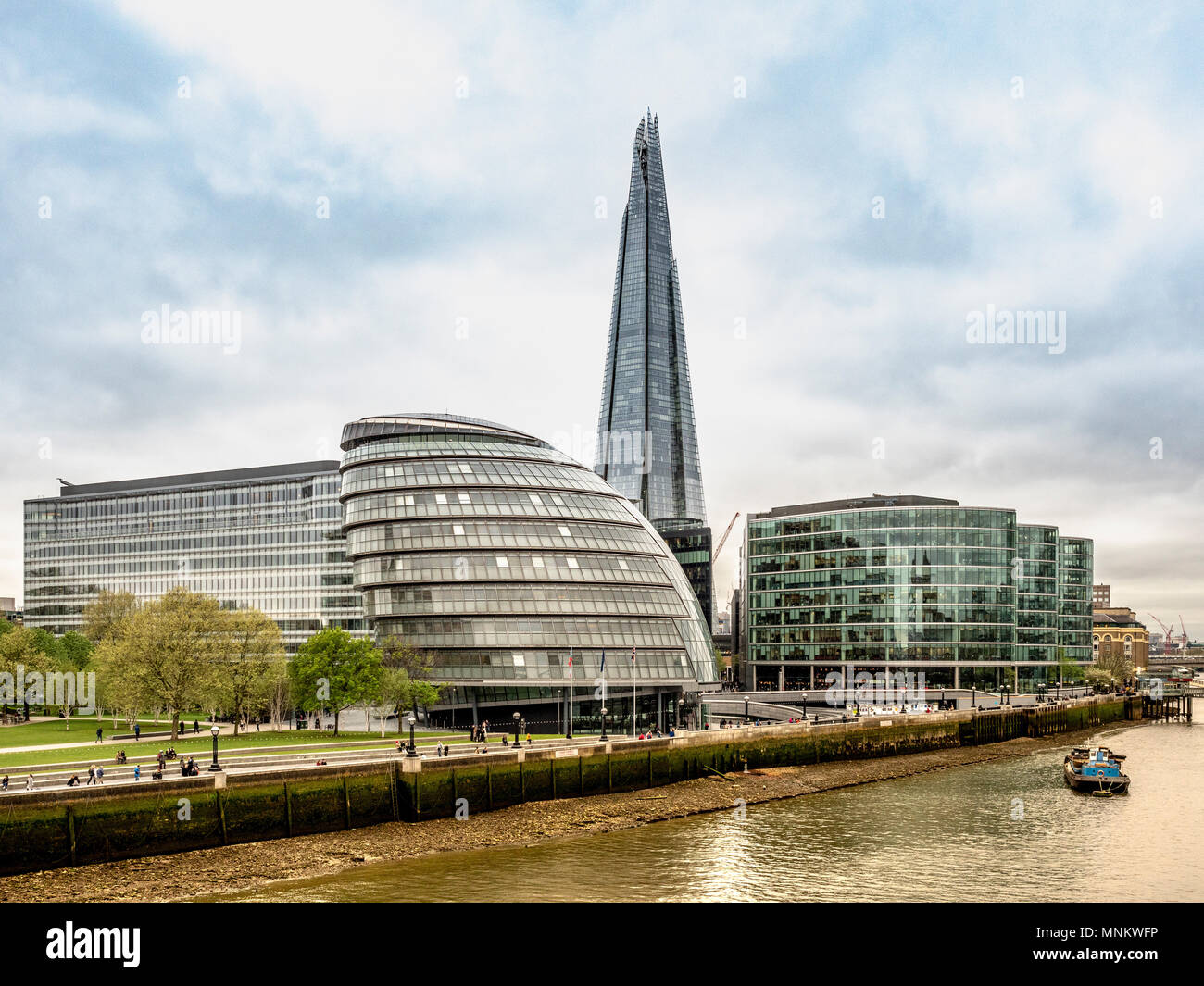 City Hall, headquarters of the Greater London Authority, and the Shard. Southwark, on the south bank of the River Thames., London, UK. - Stock Image