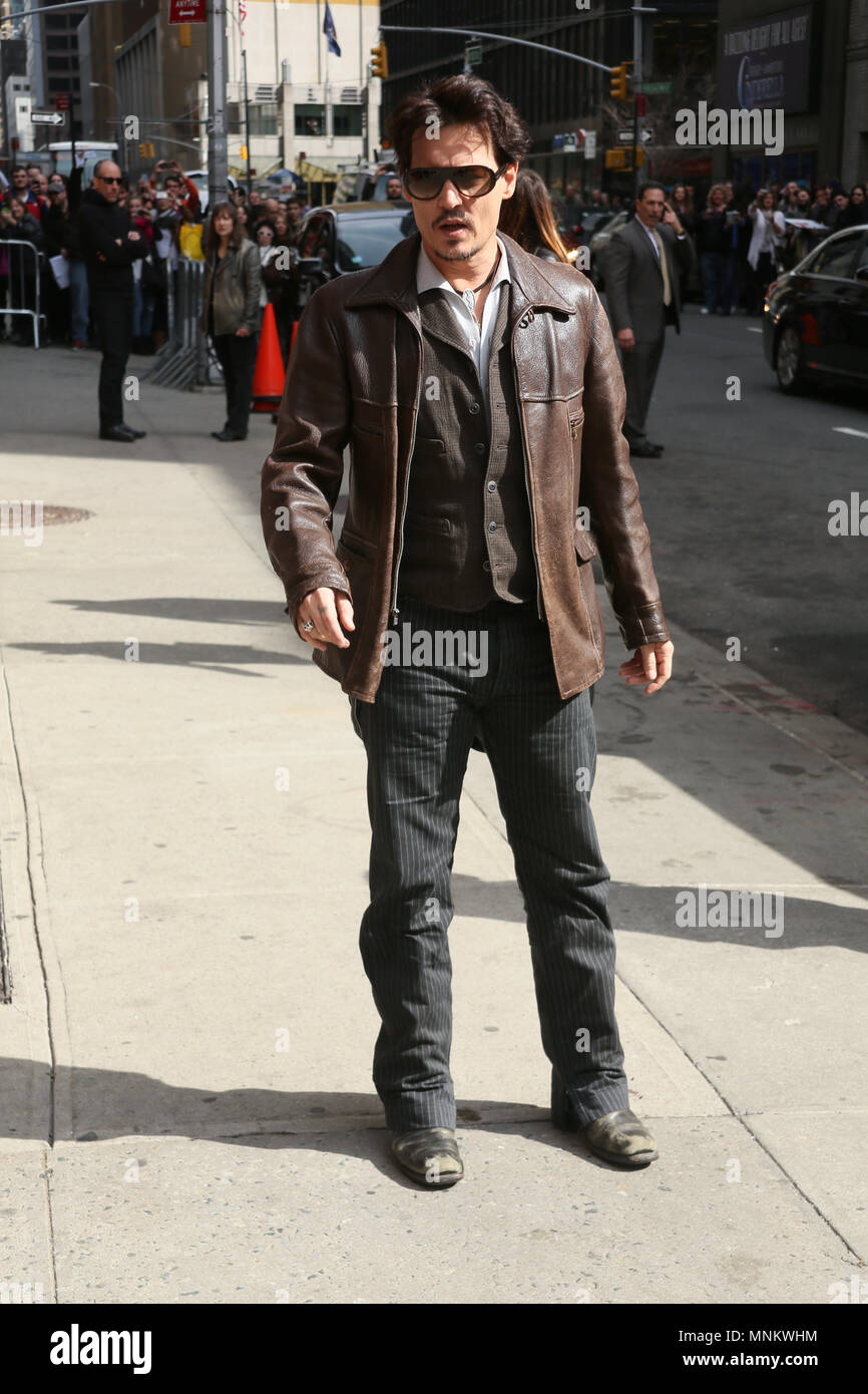Actor Johnny Depp enters the 'Late Show With David Letterman' taping at the Ed Sullivan Theater on April 3, 2014 in New York City. - Stock Image