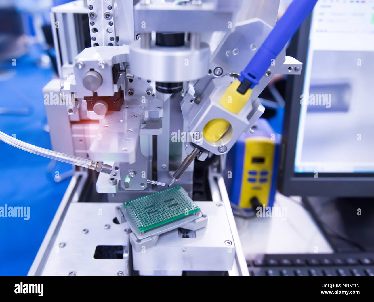 Robot Machine Tool At Printed Circuit Boards Industrial Manufacture Stockfoto Board Pcb Used In Electronic Factory