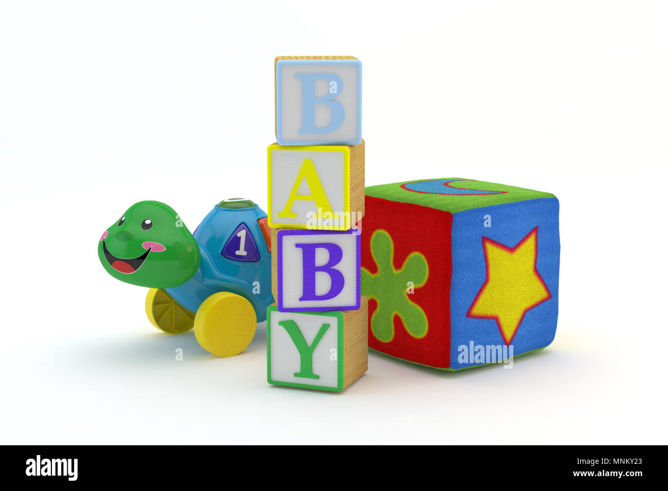 Wood Toy Blocks Spelling Baby With Baby Toys In Background Isolated