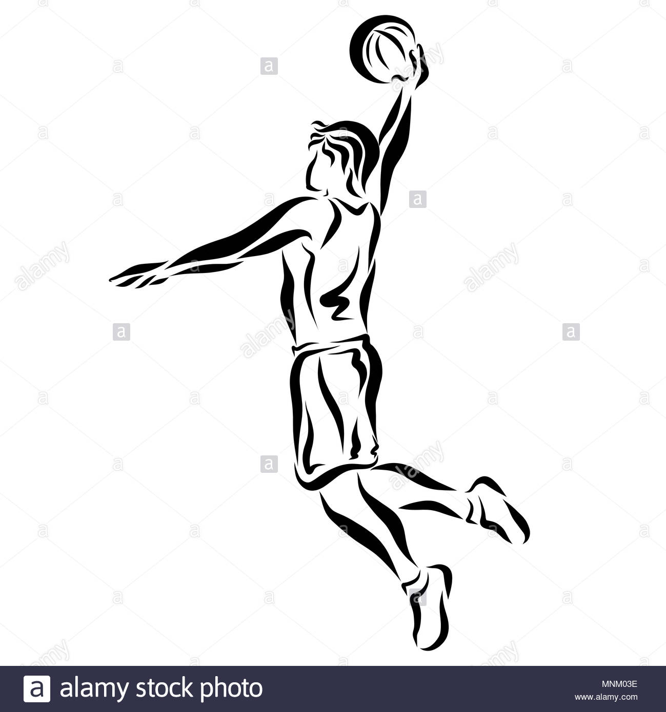 Young basketball player with a ball, jump - Stock Image