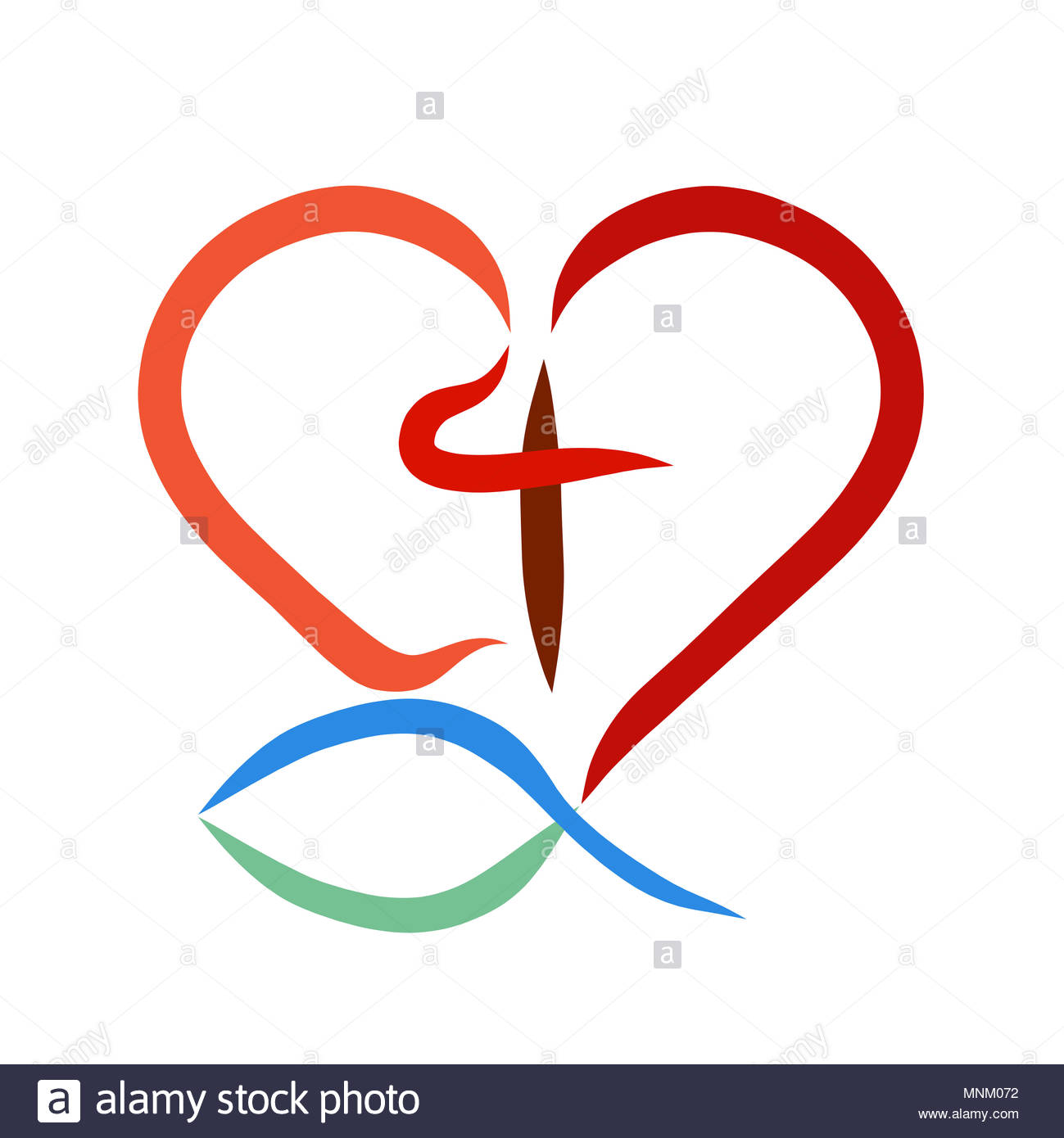 Heart Cross And Fish Christian Symbols Stock Photo 185450694 Alamy