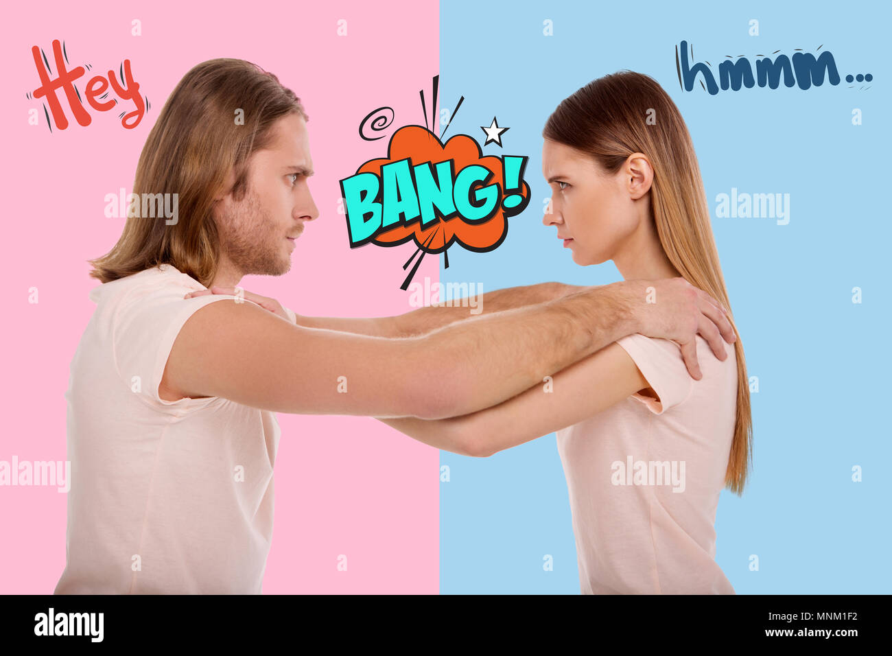Frowning people putting hands on each others shoulders and looking serious - Stock Image