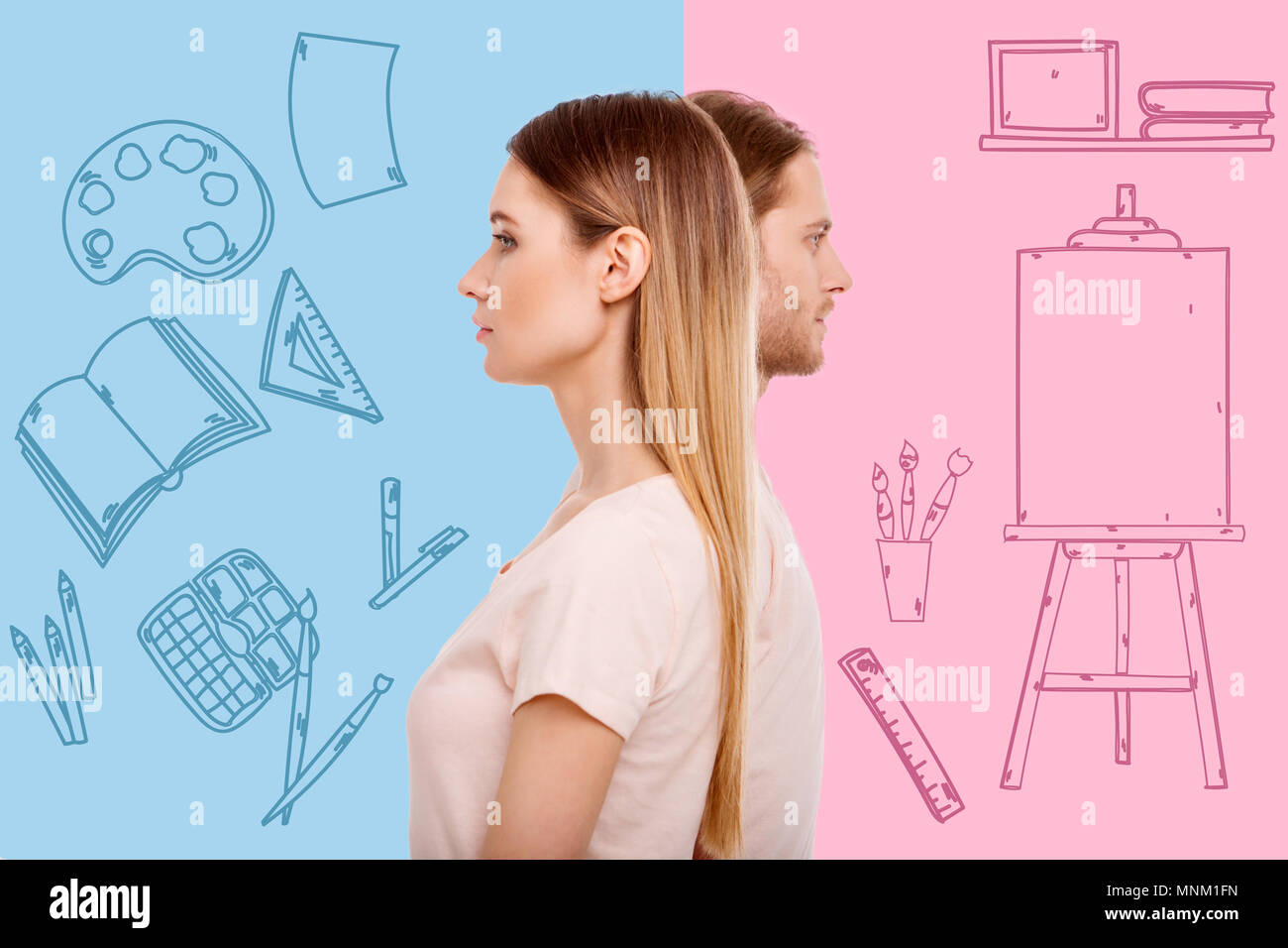 Creative painters feeling confident while preparing for a working day - Stock Image