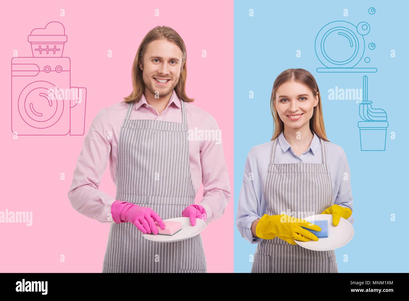 Emotional man smiling while helping his sister with housework - Stock Image