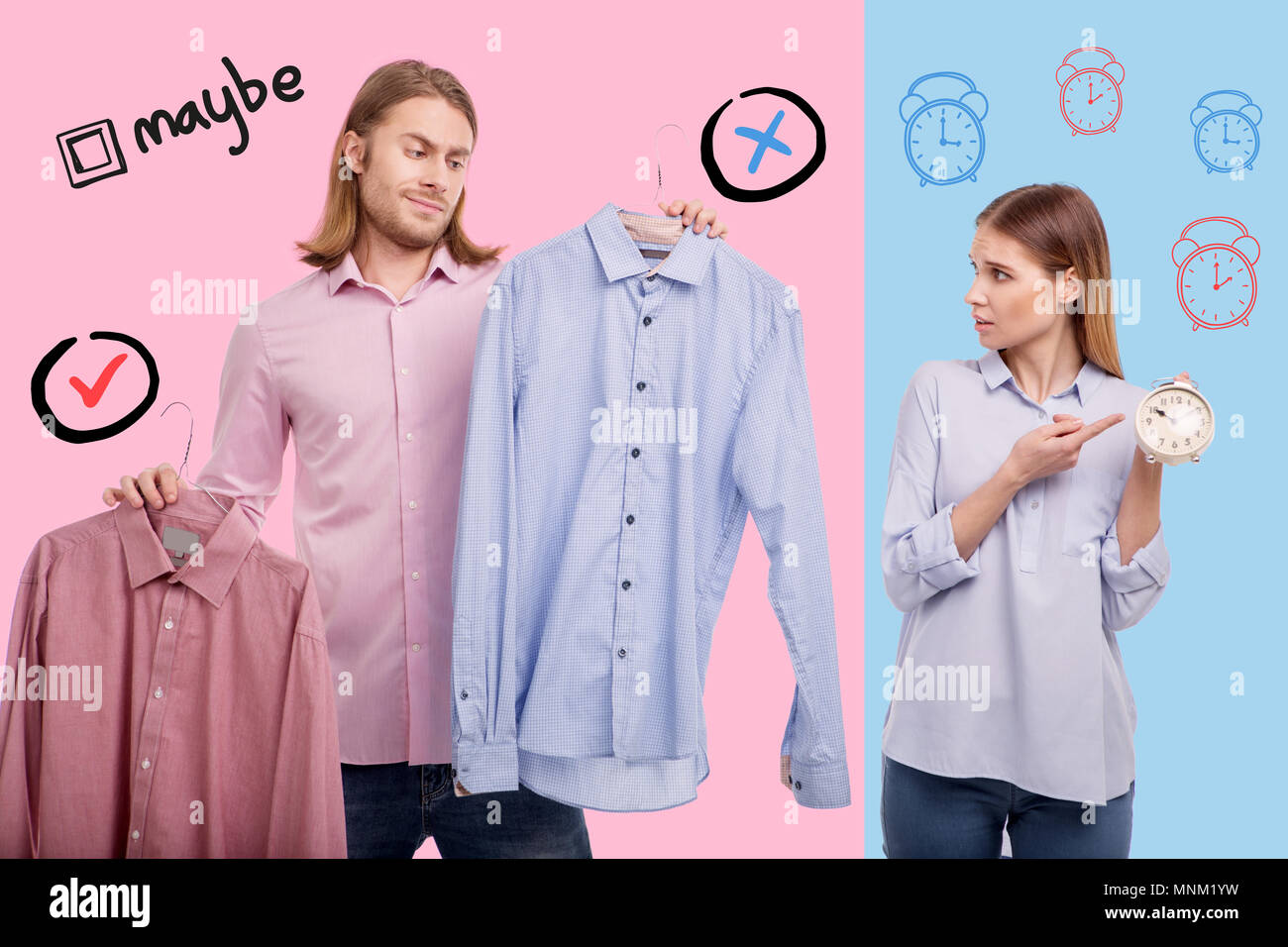 Expressive wife pointing to a clock and her husband choosing a shirt - Stock Image