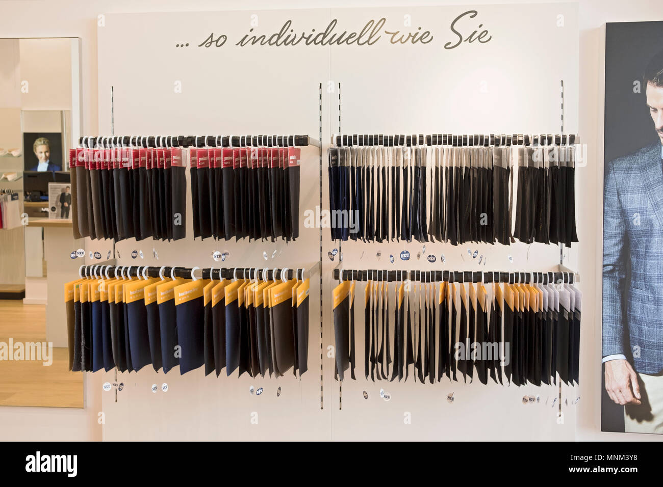 Fabric swatches for custom made suits at Kuhn Handmade Suits in Nuremburg, Germany. - Stock Image