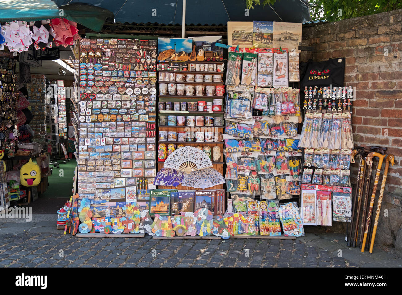 A stand selling gits and tchotkes - cheap inexpensive souvenirs - at Skanzen, a market in Szentendre, outside of Budapest, Hungary. - Stock Image