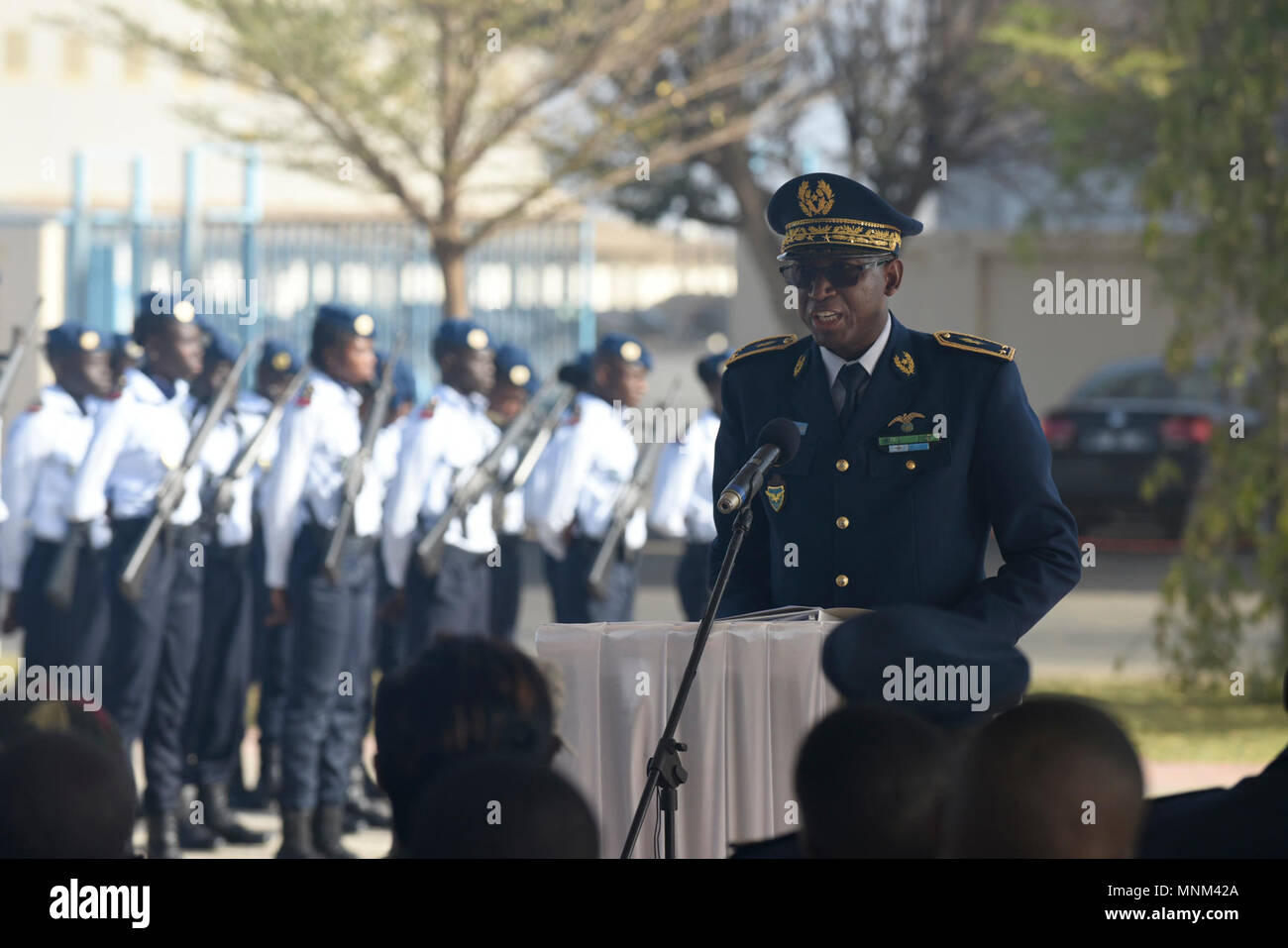 Senegalese Brig. Gen. Joseph Diop, Senegal air force Chief of Staff, speaks during the opening ceremony of African Partnership Flight Senegal at Captain Andalla Cissé Air Base, Senegal, March 19, 2018. The purpose of APF Senegal is to conduct multilateral, military-to-military engagements and security assistance with African air forces. - Stock Image