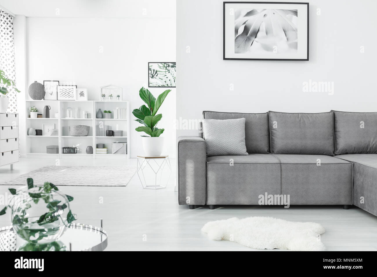Corner sofa with shelf in the corner
