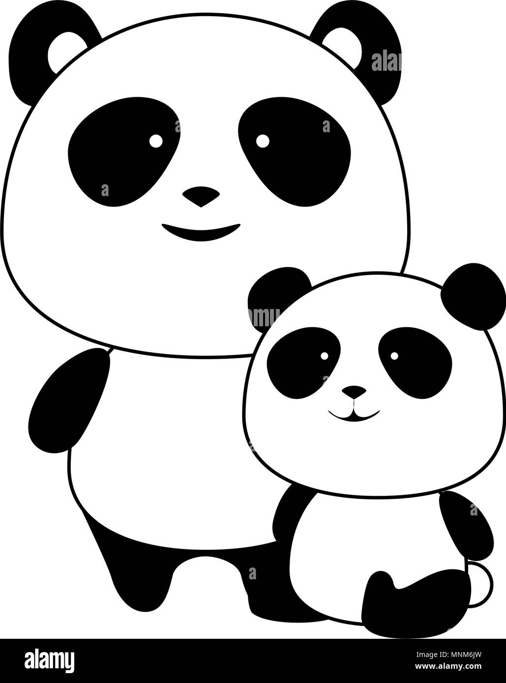 cute father and son panda bears characters - Stock Image