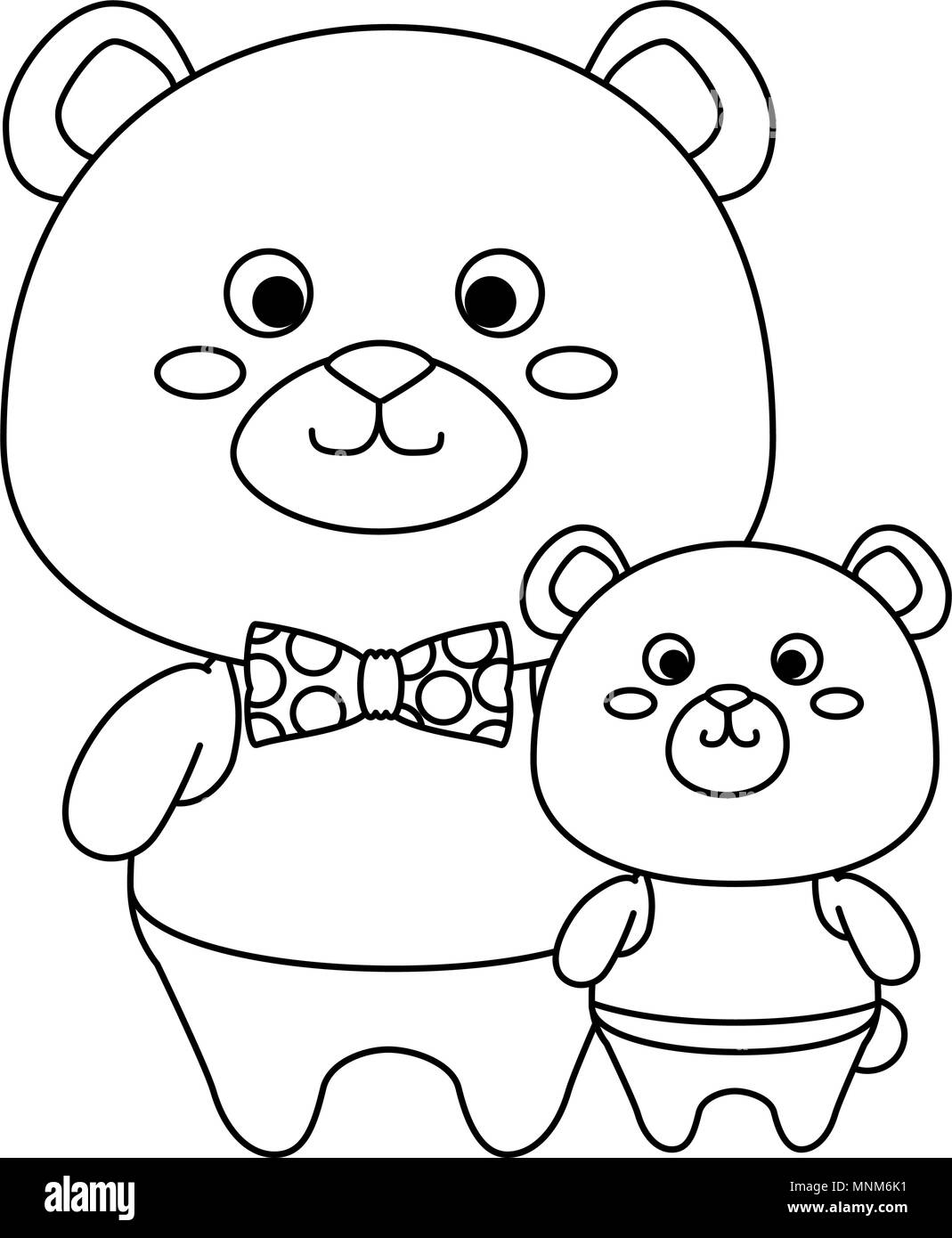 cute father and son bears teddy adorables characters - Stock Image